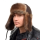Genuine Men's Muskrat Fur Hat Ushanka