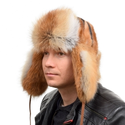 Genuine Men's Red Fox Fur Hat III Fur Ushanka Hat
