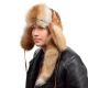 Genuine Men's Red Fox Fur Hat III Fur Ushanka with Tail