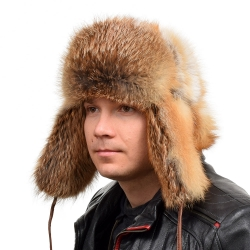 Genuine Men's Red Fox Fur Hat V Fur Ushanka Hat