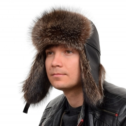 Genuine Men's Raccoon Fur Hat Fur Bomber Hat