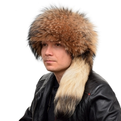 Genuine Men's Raccoon Fur Trapper Hat with Tail