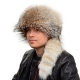Genuine Men's Coyote Fur Trapper Hat with Tail