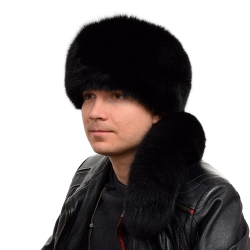 Genuine Men's Black Fox Fur Trapper Hat with Tail