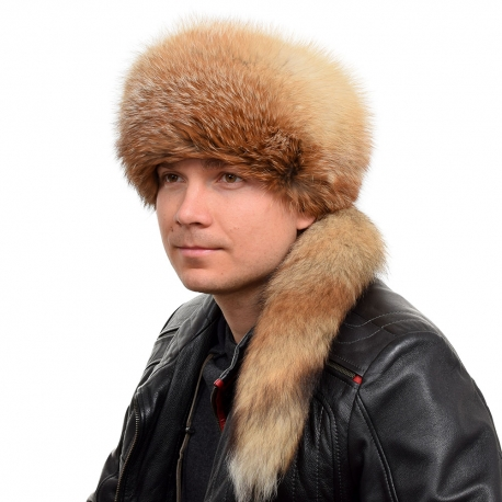 78d2b19e9fc Genuine Men s Red Fox Fur Trapper Hat with Tail - FOX