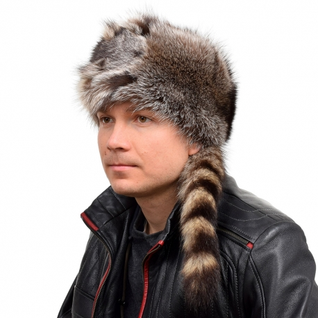 Men's Raccoon Fur Trapper Hat with Tail and Head