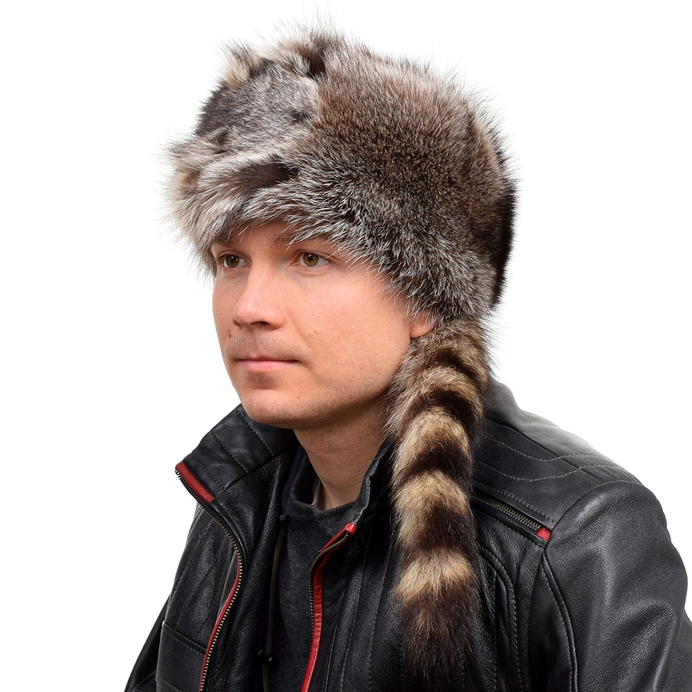 d14a16184dd68 Men s Raccoon Fur Trapper Hat with Tail and Head - FOX