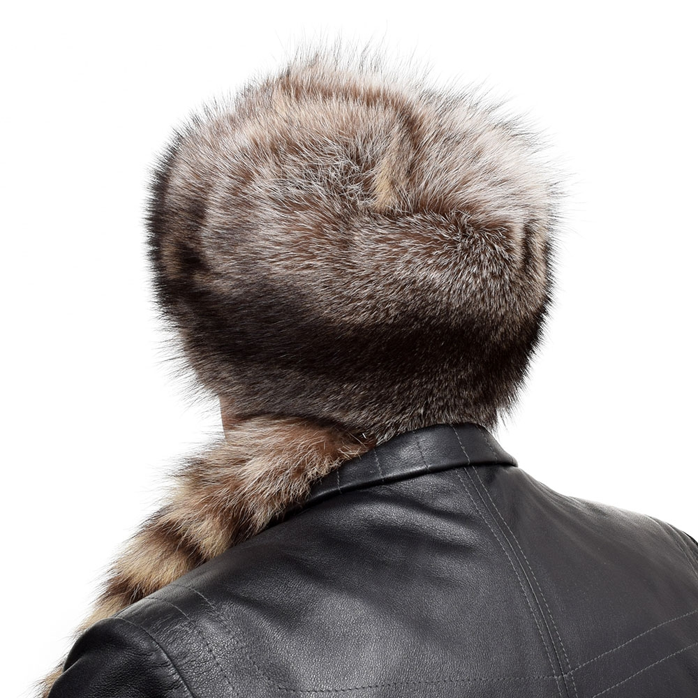Men S Raccoon Fur Trapper Hat With Tail And Head Fox