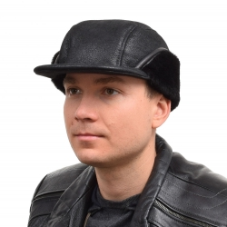 Genuine Men's Black Sheepskin Cap I Bomber Cap