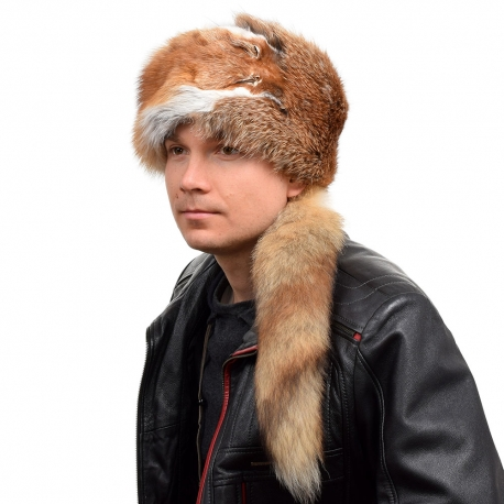 Men's Red Fox Fur Trapper Hat with Tail and Head