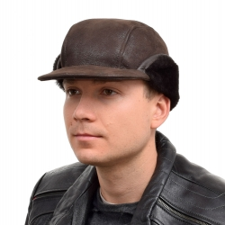 Genuine Men's Dark Brown Sheepskin Cap Bomber Cap