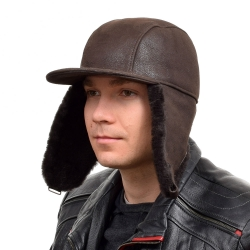 Men's Brown Aviator Sheepskin Hat With Peak
