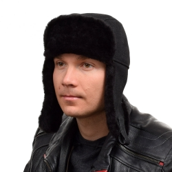 Genuine Men's Black Aviator Sheepskin Hat I