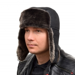 Genuine Men's Black Aviator Sheepskin Hat II