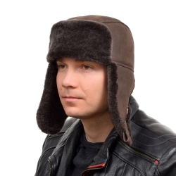 Genuine Men's Dark Brown Aviator Sheepskin Hat