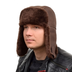 Genuine Men's Brown Aviator Sheepskin Hat