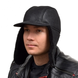 Men's Black Aviator Sheepskin Hat With Peak I