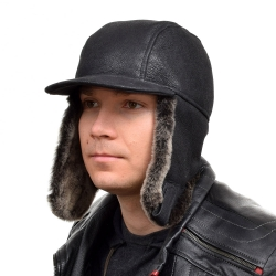 Men's Black Aviator Sheepskin Hat With Peak II
