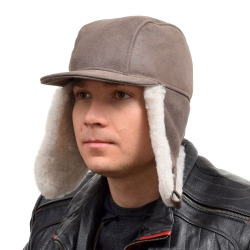Men's Beige Aviator Sheepskin Hat With Peak II