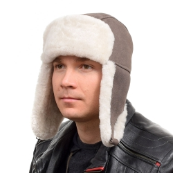 Genuine Men's Beige Aviator Sheepskin Hat II