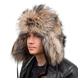 Genuine Men's Raccoon Fur Hat III Fur Ushanka Hat