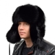 Genuine Men's Black Fox Fur Hat III Fur Ushanka Hat