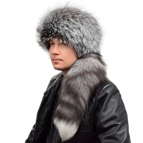Genuine Men's Silver Fox Fur Trapper Hat with Tail