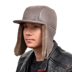 Men's Beige Aviator Sheepskin Hat With Peak I