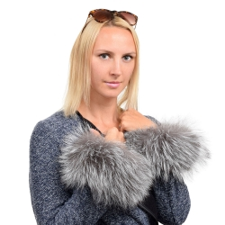 Genuine Silver Fox Fur Cuffs Wristbands