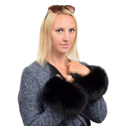 Genuine Black Fox Fur Cuffs Wristbands