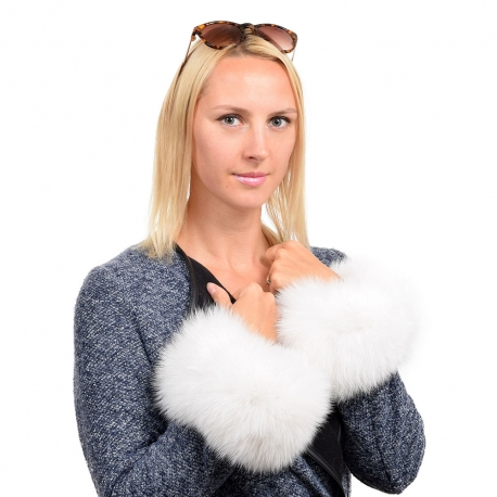 Genuine White Fox Fur Cuffs Wristbands