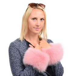 Genuine Pink Fox Fur Cuffs Wristbands