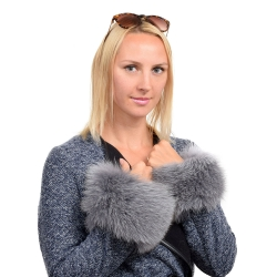 Genuine Grey Fox Fur Cuffs Wristbands