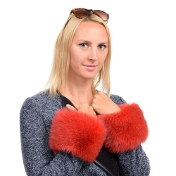 Genuine Red Fox Fur Cuffs Wristbands
