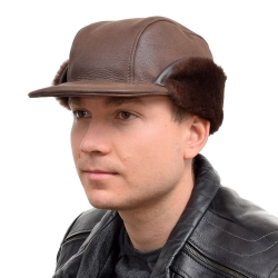 Genuine Men's Brown Sheepskin Cap Bomber Cap