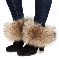 Genuine Raccoon Fur Boots Covers Fur Shoes Sleeves