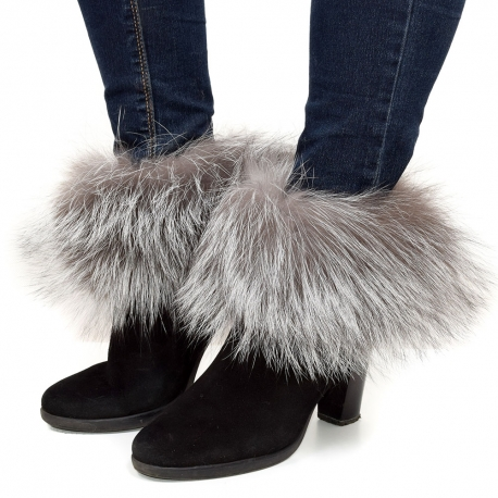 Genuine Silver Fox Fur Boots Covers Fur Shoes Sleeves