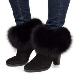 Genuine Black Fox Fur Boots Covers Fur Shoes Sleeves