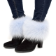 Genuine Light Blue Fox Fur Boots Covers Fur Shoes Sleeves