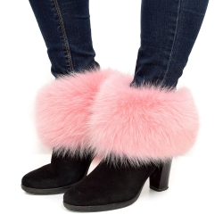 Genuine Pink Fox Fur Boots Covers Fur Shoes Sleeves