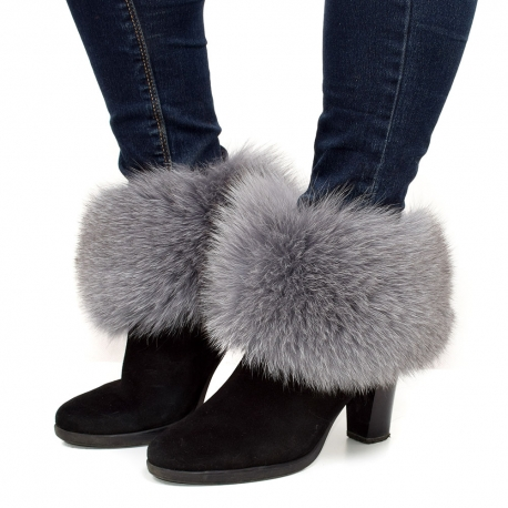 Genuine Grey Fox Fur Boots Covers Fur Shoes Sleeves