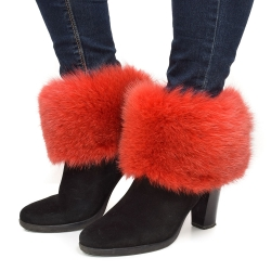 Genuine Rot Fox Fur Boots Covers Fur Shoes Sleeves