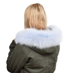Light Blue Fox Fur Hood Trim Fur Collar Fur For Hood (68cm)