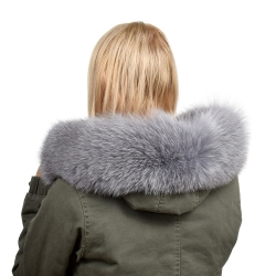 Grey Fox Fur Hood Trim Fur Collar Fur For Hood (68cm)