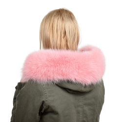 Pink Fox Fur Hood Trim Fur Collar Fur For Hood (68cm)