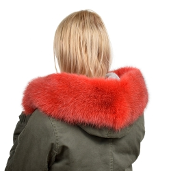 Red Fox Fur Hood Trim Fur Collar Fur For Hood (68cm)