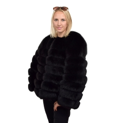 Genuine Black Fox Fur Jacket Fur Coat