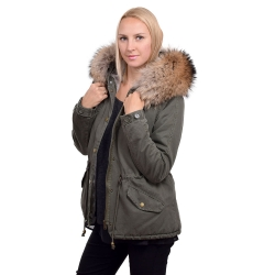 Parka Jacket with Hood of Finn Raccoon Fur
