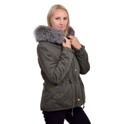 Parka Jacket with Hood of Silver Fox Fur