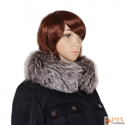 Genuine Silver Fox Fur Stand-Up Collar Wrap